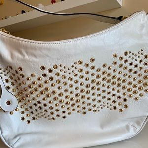 White leather and gold stud purse
